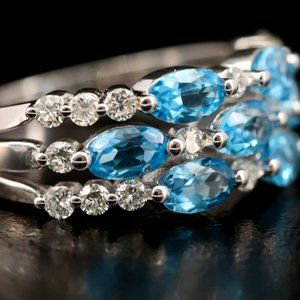 EFFY / 2.95 CT Diamond & AAA Blue Topaz Ring / 14K